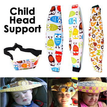Protect Baby Head Support Holder Cute Print Comfortable Sleep Belt Adjustable Safety Car Seat Kids Nap Aid Band Carriers image