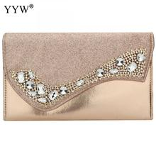 YYW Gold Clutch Female Evening Handbag With Luxury Rhinestone Envelope 2019 Handbags Women Bags Designer