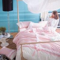 Venta CALIENTE 4 unids 100% de encaje de algodón lavado juego de cama funda nórdica hoja plana colcha sábana funda de almohada