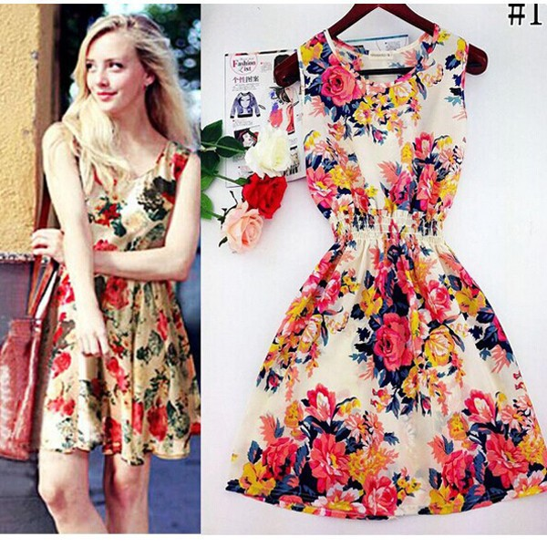 Casual Summer Chiffon Dress Women Clothes 19 Sexy Floral Short Beach Dresses Korean Elegant Vestido De Festa Verano Robe Femme 10