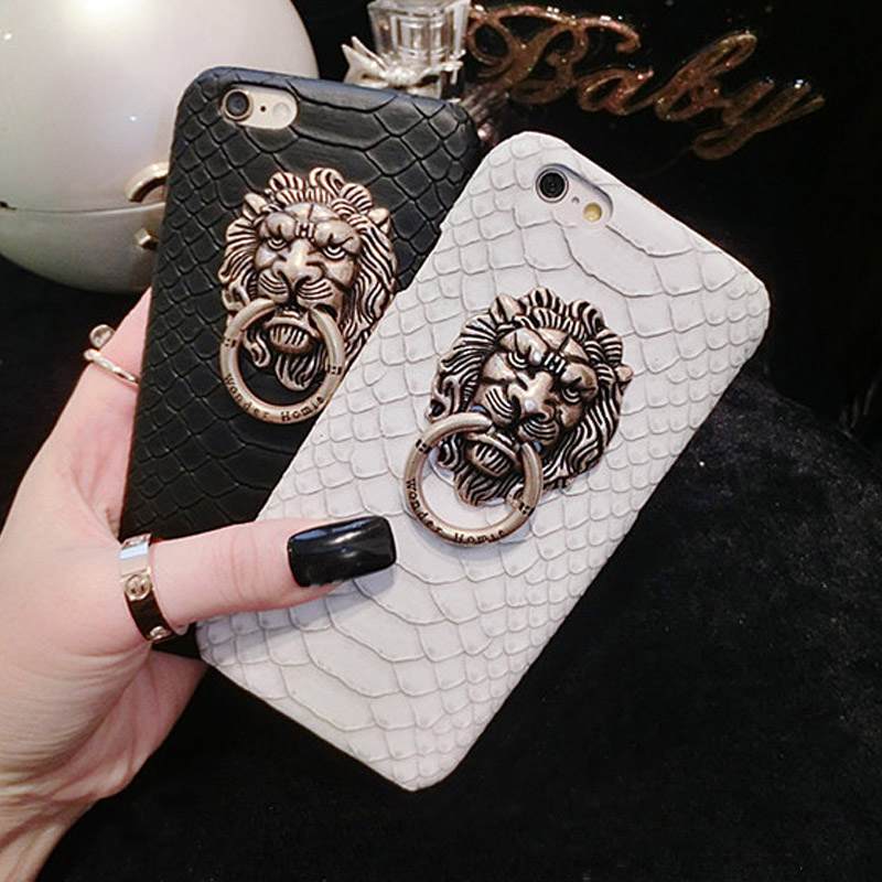 YRFF Snake Skin phone case For iPhone 5s 5 6 6s plus 7Plus case cover Metal 3D Lion Head holder case for iPhone 6 6s 7 plus