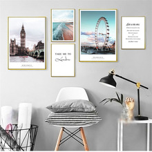 HAOCHU Nordic Modern Landscape Decoration Painting London City Architecture Beach Letters Personality Home Decor Wall Art Poster