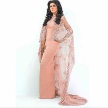 Saudi Arabisch Pfirsich Abendkleider Mit Mantel Gerade Sexy Mantel Lange Abschlussball-kleider Lace Appliques Party Kleider Vestido Longo