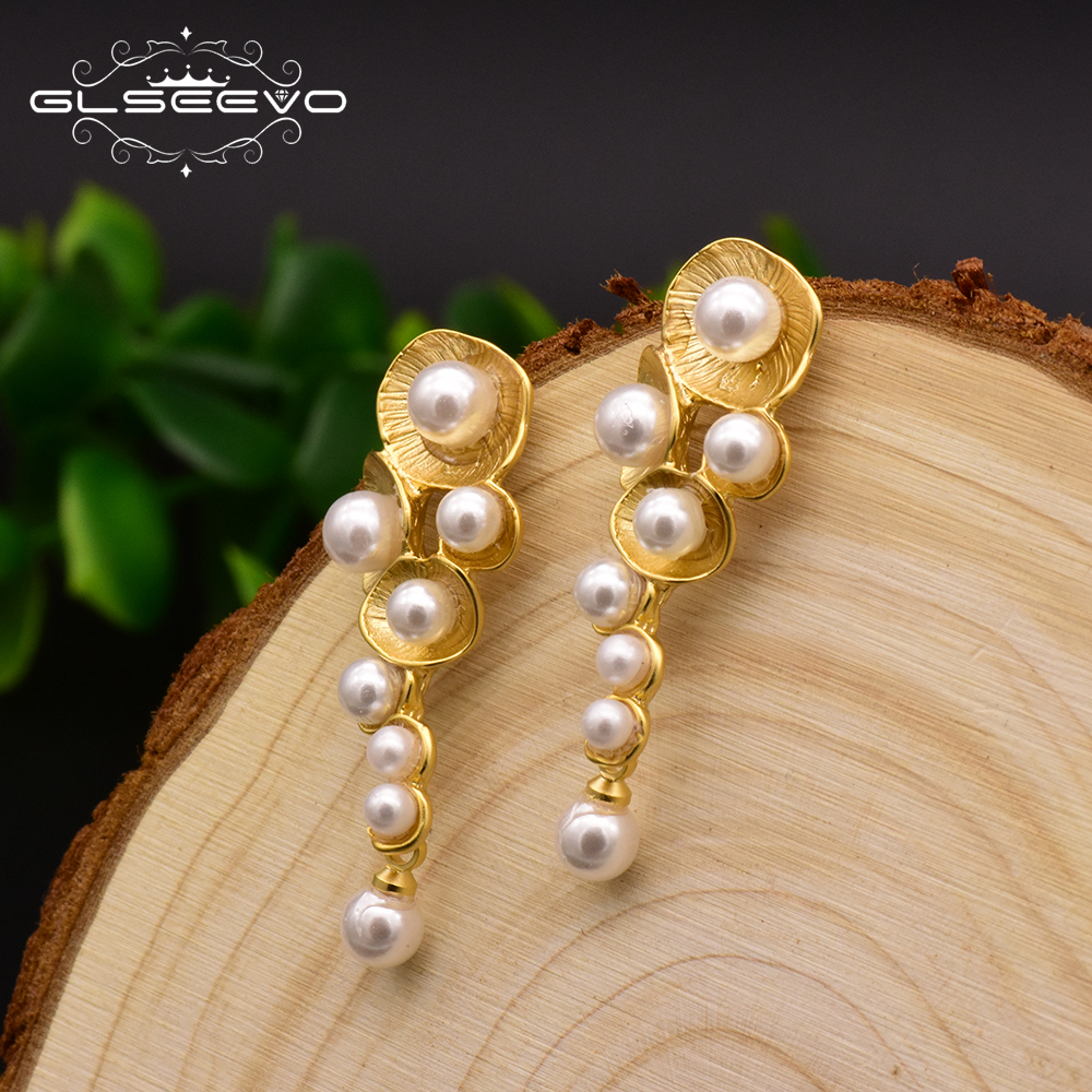 GLSEEVO Fashionable White Shell Pearl Drop Earrings For Women Female Handmade Plant Wedding Dangle Earring Jewelry Brinco GE0330