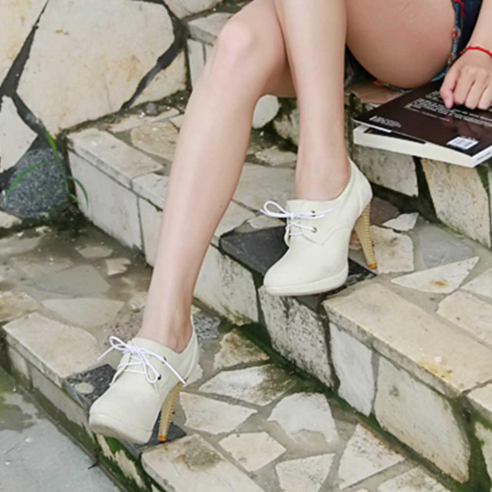 DoraTasia moda büyük boy dantel Up süper ince yüksek topuklu akın kapak platformu yarım çizmeler bayanlar için 2019 ayakkabı kadın 34 -43