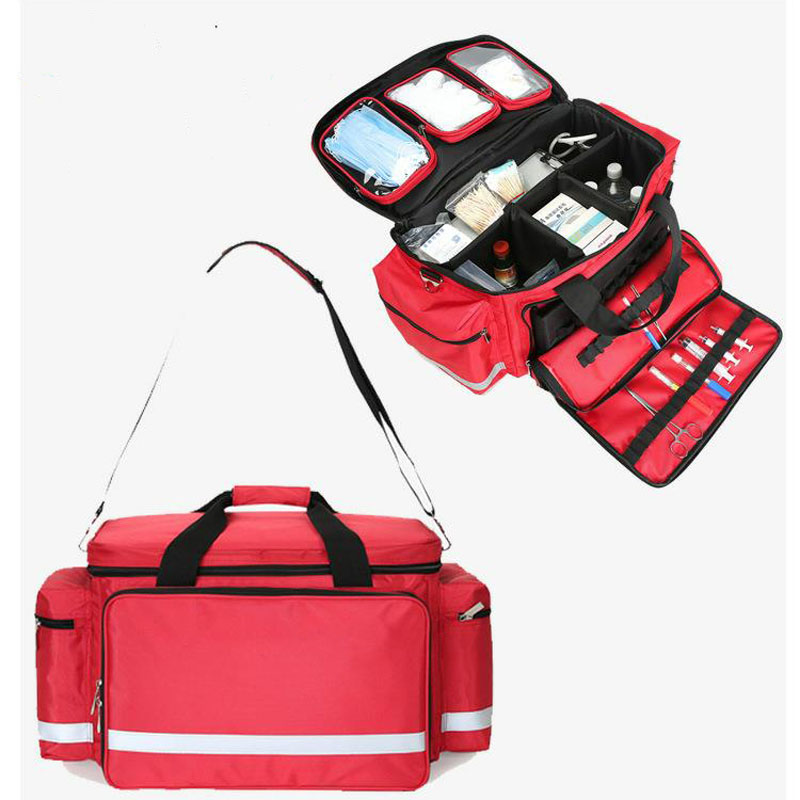 Outdoor First Aid Kit Outdoor Sports Red Nylon Waterproof Cross Messenger Bag Family Travel Emergency Medical Bag DJJB020-in Emergency Kits from Security & Protection