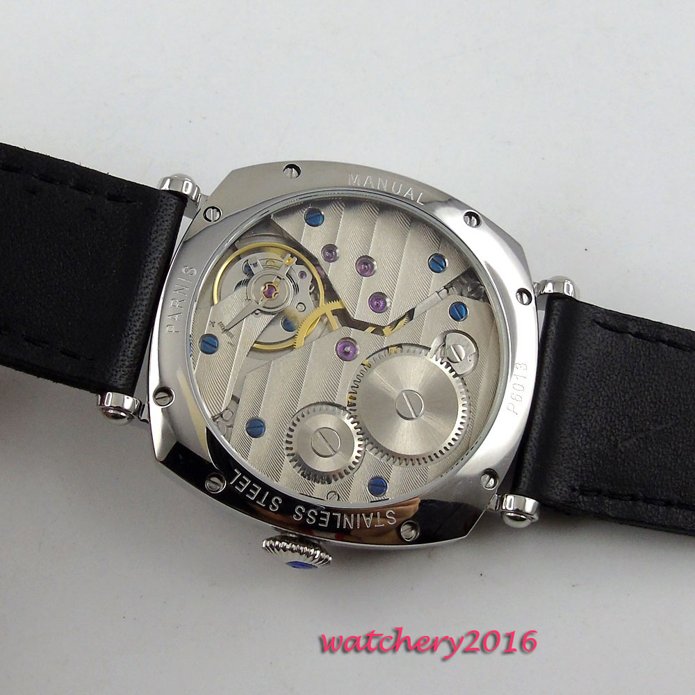 44mm Parnis white dial polished Case Leather strap Blue Hands 17 jewels 6497 Movement Hand Wind Mechanical Men 39 s Watch in Mechanical Watches from Watches