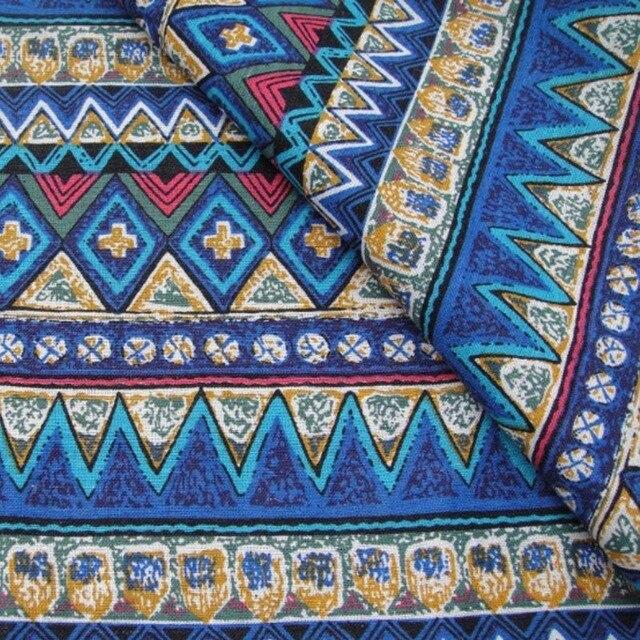 1 mètre Bohême vague Méditerranée Orientale style bleu coton lin ...