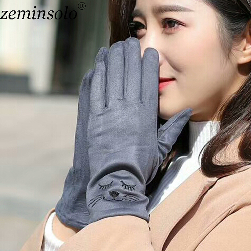 New Style Luxury Brand Female Gloves For Touch Screens Hats Mittens Winter Warm Wool Gloves Long Leather Solid Gloves Women in Women 39 s Gloves from Apparel Accessories