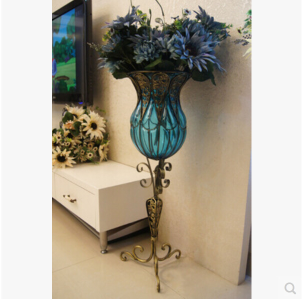 Jane S Wrought Iron Gl Vase Large Living Room Table Flower Vases Implement Home Furnishing Articles In From Garden On