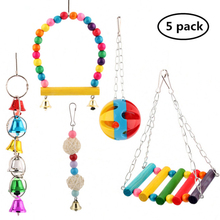 5Pcs/set Bird Parrot Toys Hanging Bell Pet Cage Hammock Swing balls Toy Macaw set toy Accessories