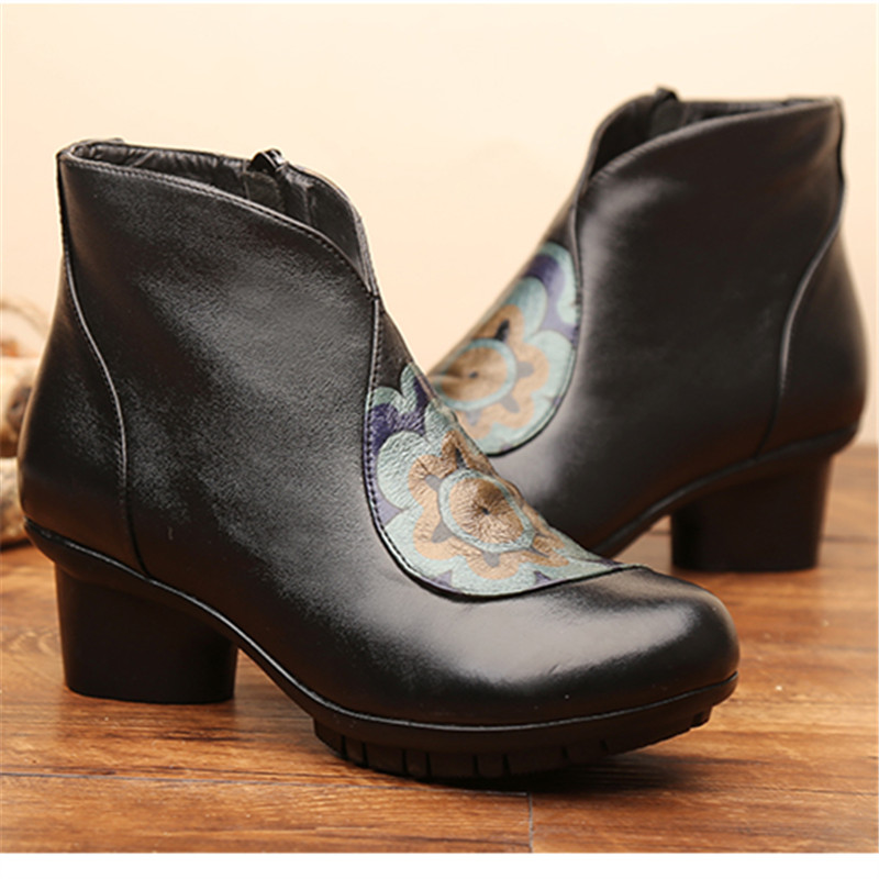 ФОТО Ankle Boots Women Genuine Leather Handmade Boots Thick Heels Mother Shoes Women Spring Autum Winter Zapatos Mujers Ladies Bottes