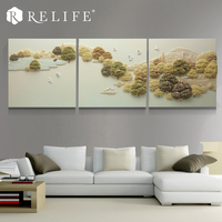 3 Panel Combined Triptych Paintings Home Decor Wall Art for Living Room Mountain View Pictures