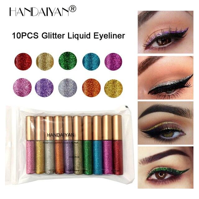 10 unids/set delineador de ojos brillante lote impermeable brillo pigmento plata oro metálico tinte líquido brillo delineador de ojos conjunto Maquiagem