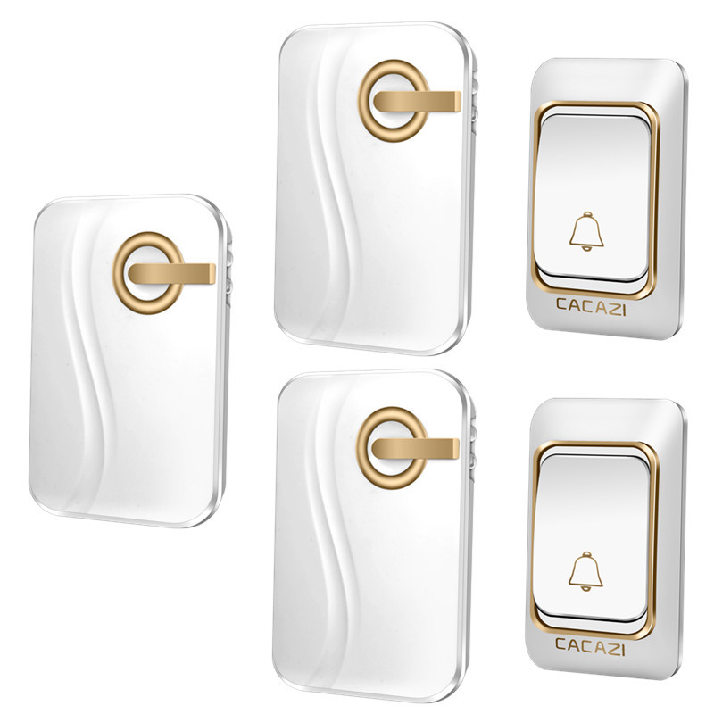CACAZI Wireless Doorbell 36 Chimes Waterproof with 2 transmitters and 3 receivers DC Door Bell 200m Range for homeCACAZI Wireless Doorbell 36 Chimes Waterproof with 2 transmitters and 3 receivers DC Door Bell 200m Range for home