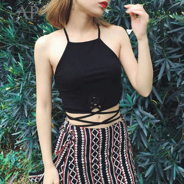 Alisa Pan Women Summer Fashion Casual Sexy Spaghetti Strap Camisole Lace-up Knit Burgundy Black Tank Short ChicStyle Top AS01093