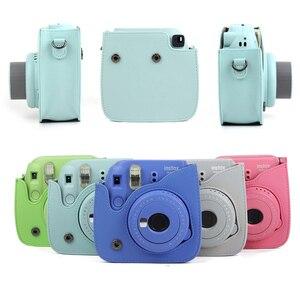 Image 3 - לשאת עור מפוצל תיק Case כיסוי עם כתף רצועת עבור Fujifilm Instax מיני 9 מיני 8 מיני 8 + מיידי סרט תמונה מצלמה