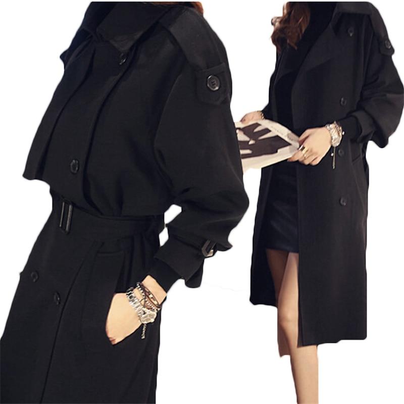 2018 New Spring Black Cape Trench Coat  Female Long Sleeve Women's Outwear & Overcoat Fashion Autumn Long Windbreaker A74
