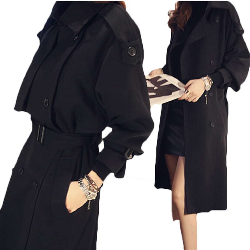 2018 New Spring Black Cape   Trench   Coat Female Long Sleeve Women's Outwear & Overcoat Fashion Autumn Long Windbreaker A74