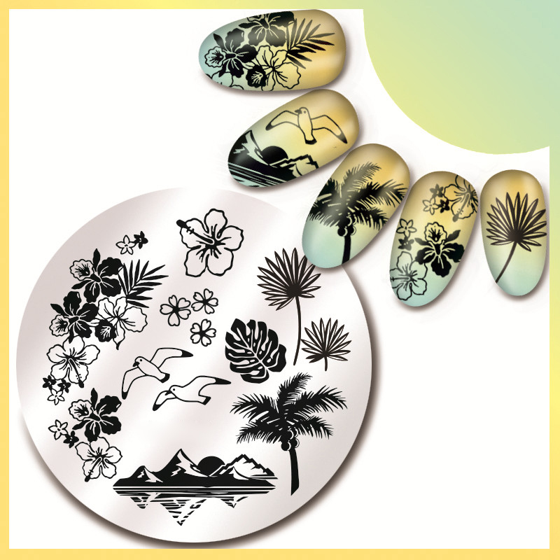 1 Pc 5.5cm Round Nail Art Stamp Image Plate High Quality Hawaii Sea Pattern Stamping Template JP17