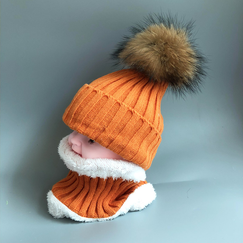 2019 Kids Boys Girls hats Warm Fleece Liner Beanie Hats set With Scarf Fur Winter Hat For Children Baby Skullies Beanies