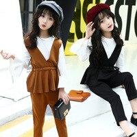 Back School College Teenage Clothes For Girls Autumn Clothing Set 2018 Children Sport Suit Kids Costume T shirts + Vest + Pants