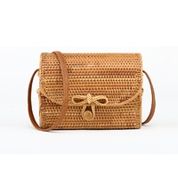 JHD 2018 fashion Bali Bohemian boutique autumn cane hand woven bag square butterfly buckle rattan bag handbag Messenger bag