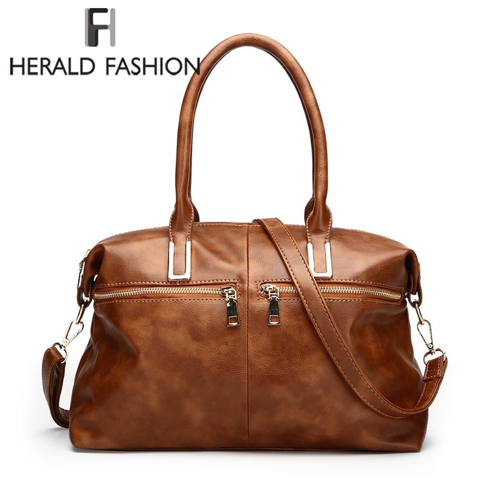 Herald Fashion Women Boston Handbag Quality Leather Female Shoulder Bag Causal Large Capacity Tote Bags Lady's Messenger Bag