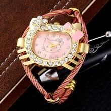 Luxury Brand Hello Kitty Women Cuff Bracelet Watch Gold Weave Band Women Dress Watches Girls Rhinestone Clock Relogio Feminino
