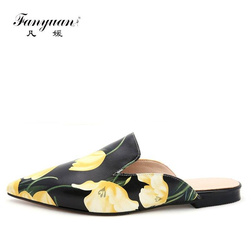 Fanyuan en cuir véritable femmes Mules mode été pantoufles Sexy imprimé bout pointu pantoufle sandale chaussures à talons bas tongs