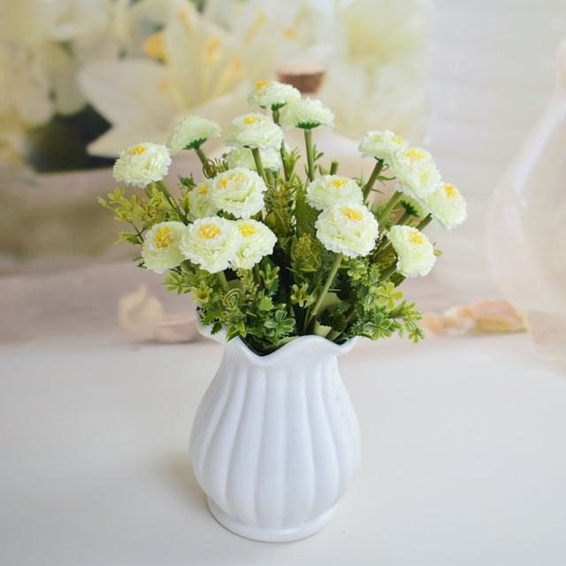 Silk small roses artificial flowers bouquets for home table party ...