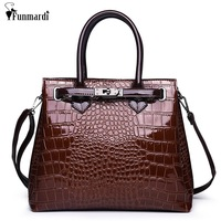 FUNMARDI New Arrival Vintage Women Bags Fashion Snake Handbag PU Leather Shoulder Bags Tote Bag Classic Crossbody Bags WLHB3014