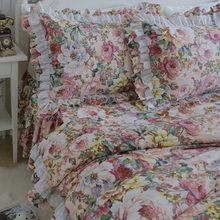 SUCSES Flowers Print Bedding Set Pastoral Ruffle Lace Duvet Cover Quality Embroidery Bedding Elegant Bed Sheet Bed Skirt Type 1 5m 3pcs letter print ruffle bed skirt set