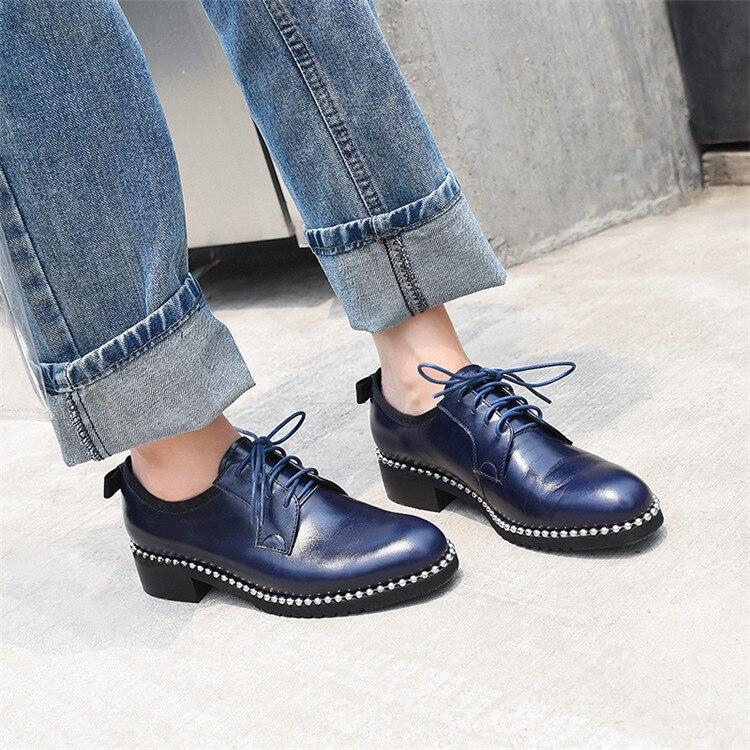 Véritable Pxelena 43 En Taille dark Talons Cuir Derby Oxfords Noir Brogue Luxe Chaussures Blue De 34 Femmes Perles Plus Bas Métal Lacent marron La Robe rxBpWxw
