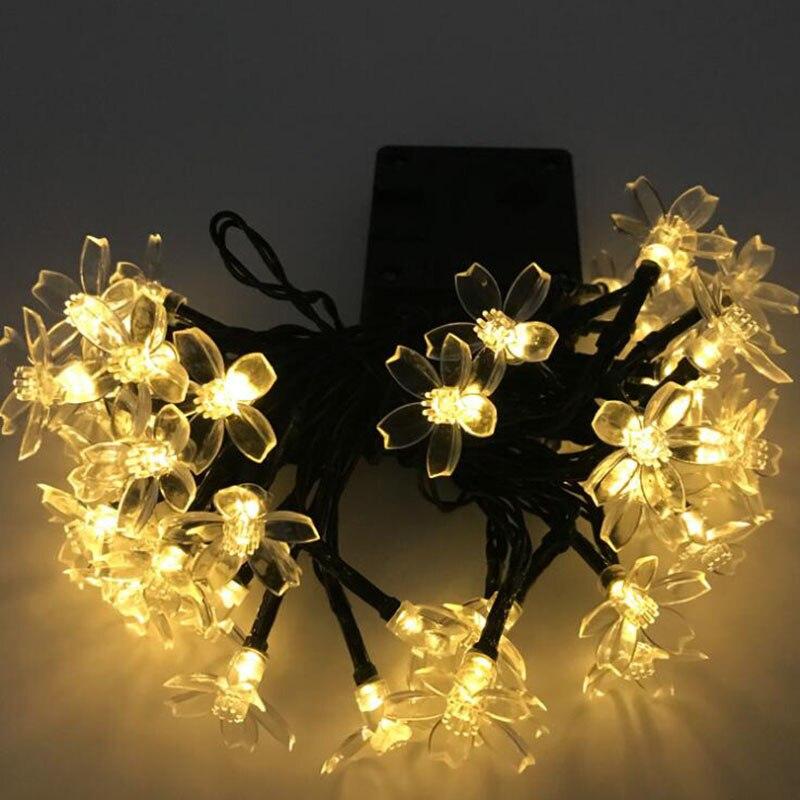 20 светодиодный вишня Солнечный свет цветочный кулон светодиодный вечерние гирлянды огни строки украшение Новогоднее открытый сад света