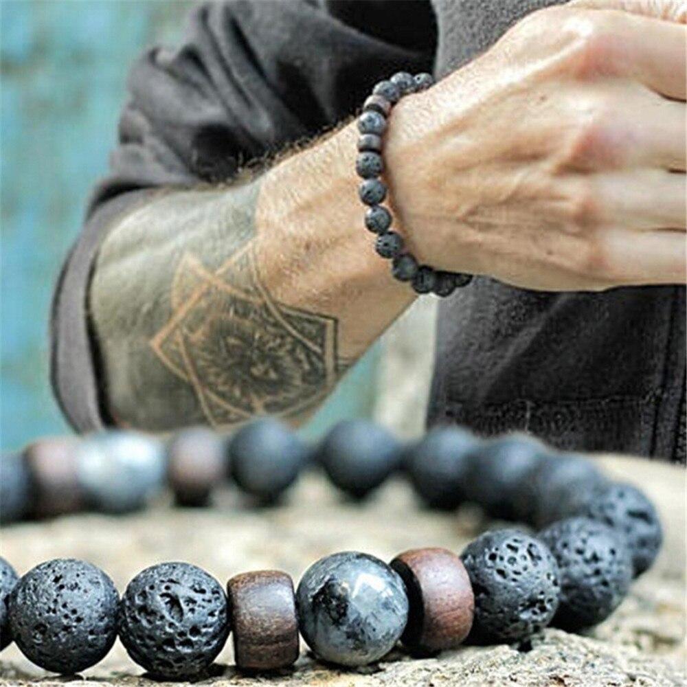 Fine Men Reiki Bracelet Natural Moonstone Beads Bracelet Energy Chakra Lava Stone Diffuser Bracelets Men Jewelry Gift Dropship