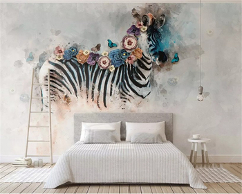 beibehang Custom size New vintage hand-painted oil painting watercolor zebra flower animal background papel de parede wallpaper