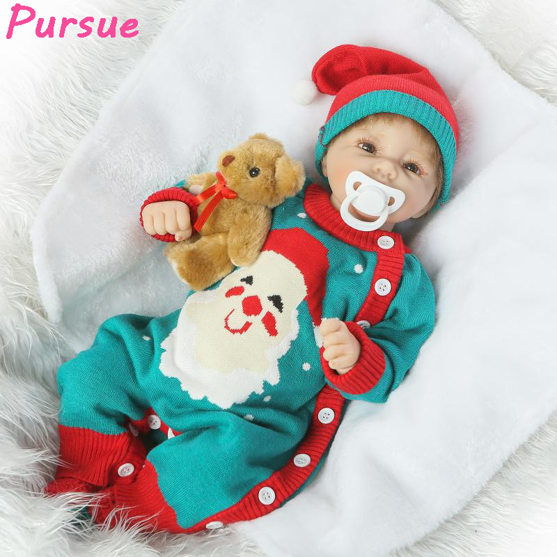 Pursue 50cm Half Body Silicone Reborn Baby Dolls Realistic Baby Face Soft Vinyl Baby Dolls Toys for Children Reborn Baby Dolls contact s genuine leather men wallets male short purse standard wallets small clutch card holder coin purses money male bag 2017