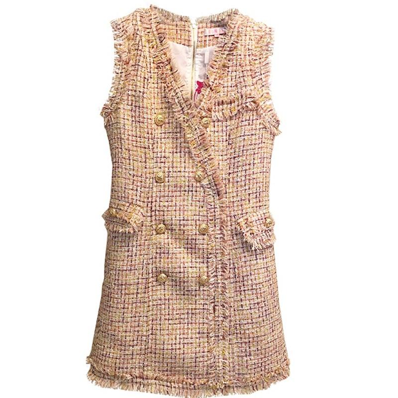 2018 Runway Autumn Winter Tweed Women Dress Double breasted Sleeveless Tassel Casual Vest Luxury Party Dresses Vestidos robes
