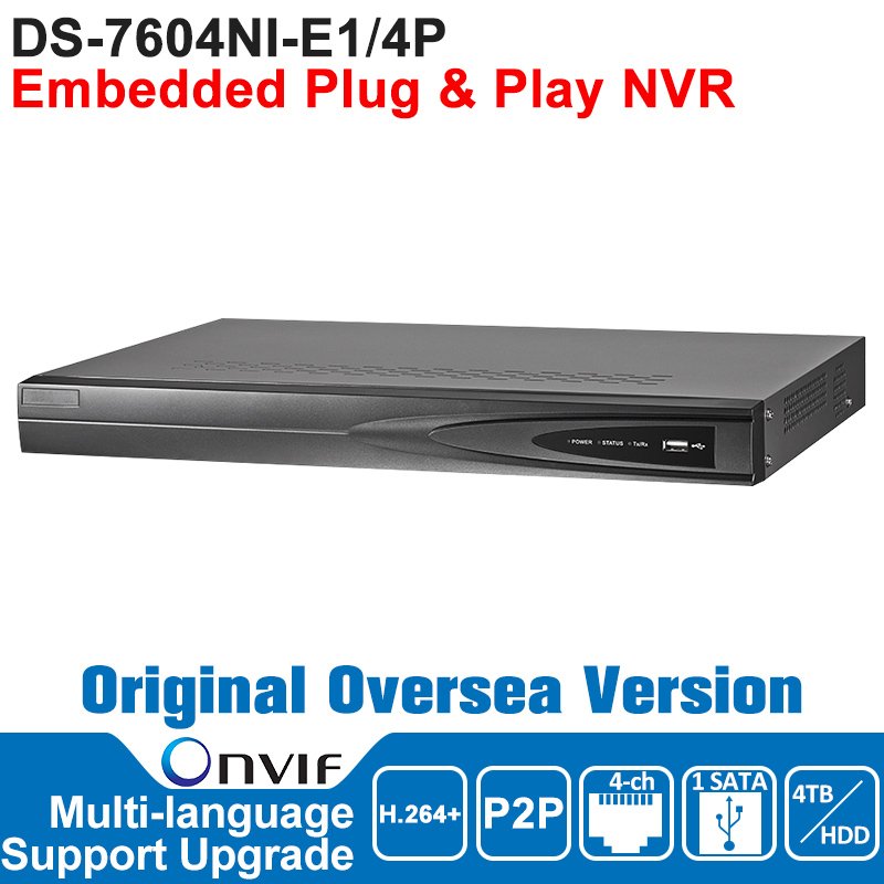 Hikvision NVR IP Camera Network Video Recorder DS-7604NI-E1/4P ONVIF Surveillance Video Recorder NVR POE 4CH English Version original english version nvr ds 7104ni sn p 4ch mini nvr 4ch poe network video recorder hd 1080p nvr work well with h 265 ipc