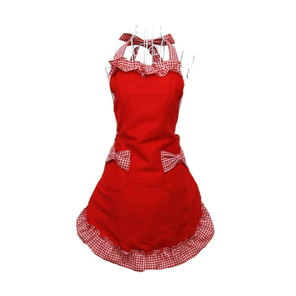 Hot Princess Rural Style Cotton Grid Pattern Working Chefs Kitchen Cooking Ladies Set Apron With Bowknots Pockets Design Red