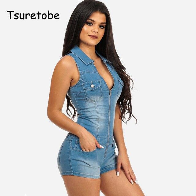 e4f2626eddda Tsuretobe Women Summer Denim Romper Playsuit Sleeveless Short Jeans Sexy  Deep V-Neck Slim cowboy Summer Jumpsuit Playsuits