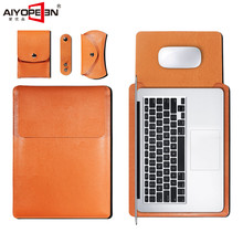Case for macbook Air 13 11 Pro 13 15 Sleeve Bag, Aiyopeen PU Leather Soft Laptop Cover for macbook Retina 12 13 15 inch все цены