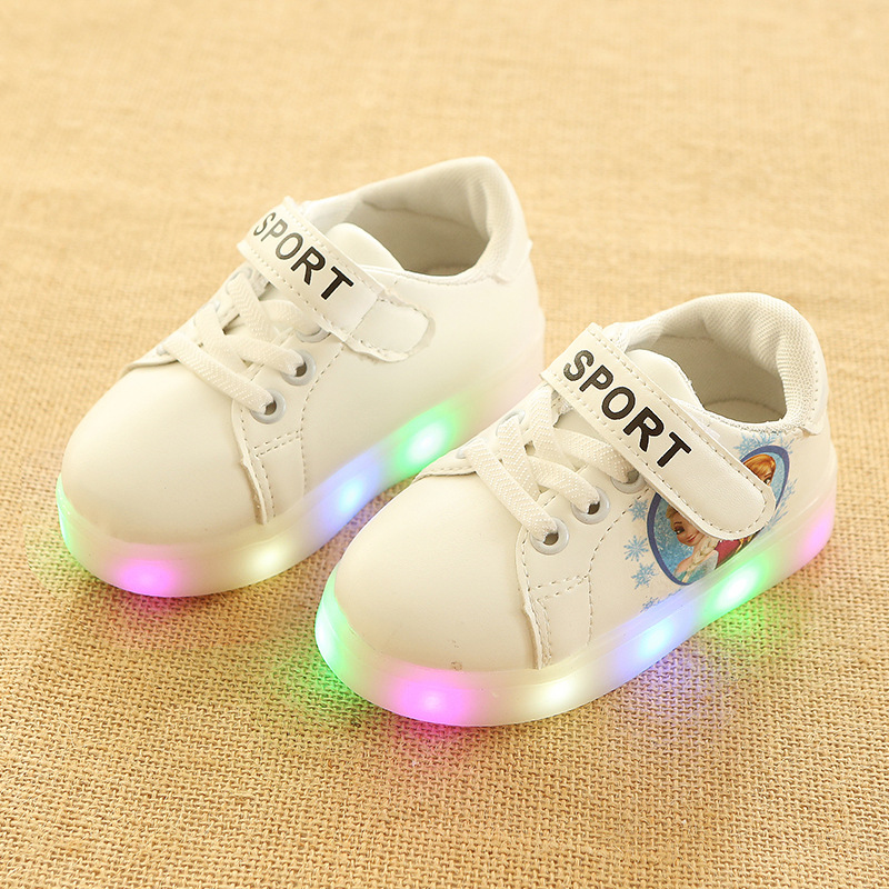 All seasons Hook&Loop fashionable baby first walkers LED lighted shoes for baby girls Patch nice excellent baby sneakers