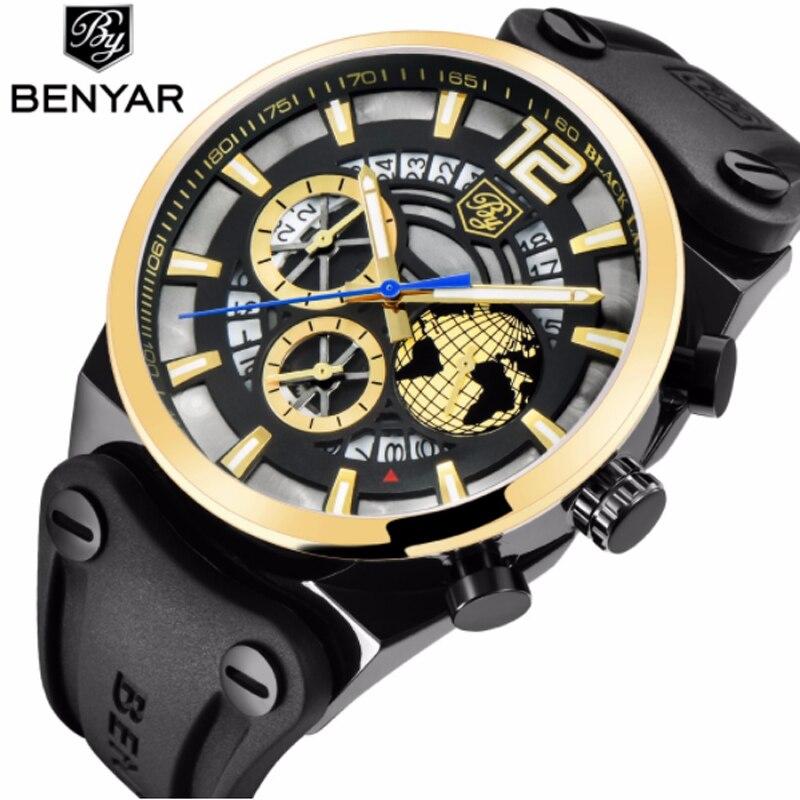 купить BENYAR Large Dial Design Sports Mens Watches Leather Silicone Quartz Military Watch Men Fashion 3D Gold Dial Relogio Masculino онлайн