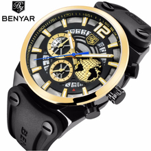 BENYAR Large Dial Design Sports Mens Watches Leather Silicone Quartz Military Watch Men Fashion 3D Gold Dial Relogio Masculino men s fashion sports watch large dial leather band army military watch men casual quartz wrist watches relogio masculino