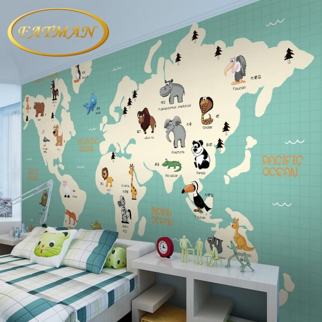 Voorkeur Custom foto behang 3D Cartoon wereldkaart dier distributie  LQ91
