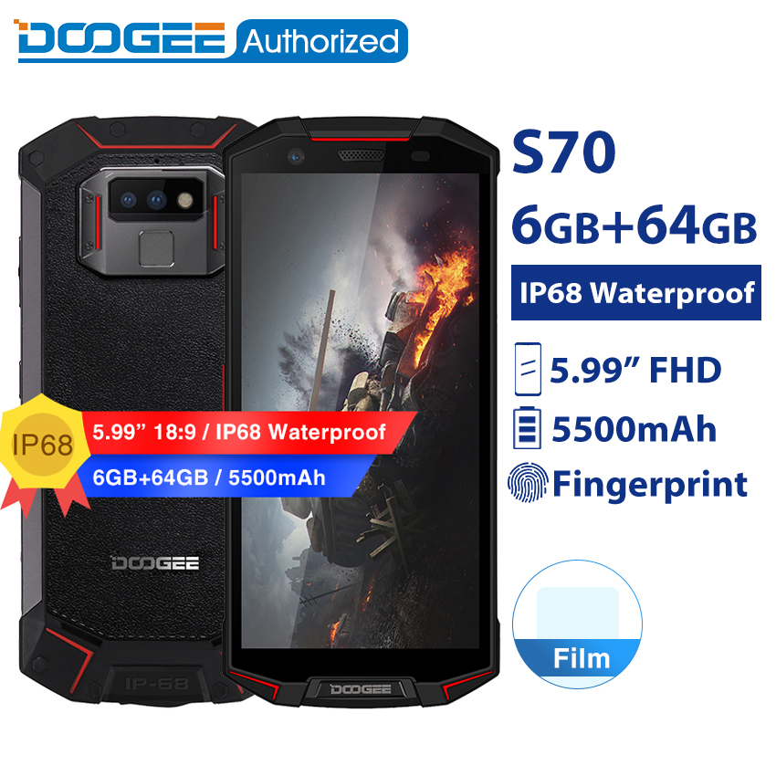 DOOGEE S70 IP68/IP69K Waterproof Game Phone Wireless Charge NFC 5500mAh 12V2A FHD Helio P23 Octa Core 6GB 64GB Rugged Smartphone