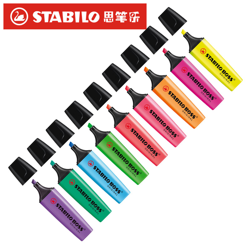 Stabilo Textmarker Boss Original 70 Highlighter Germany Purple/yellow/Pink/Orange/Light Green/Blue/Green/Rose Pink/Red color assorted colors tagboard 12 x 9 blue canary green orange pink 100 pack
