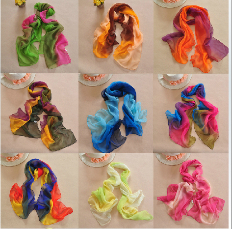 Min order $15! 2015 Hot Style New Women's Fashion Gradual Patchwork colors chiffon georgette silk scarf/ shawl!
